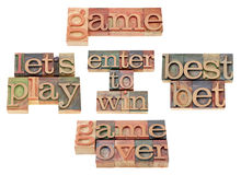 Game - word collage in letterpress type Royalty Free Stock Image