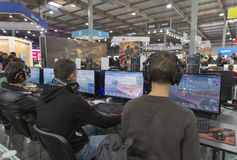 Game zone at CEE 2015, the largest electronics trade show in Ukraine Royalty Free Stock Photos