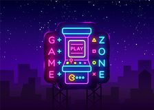 Game Zone Logo Vector Neon. Game Room neon sign board, design template, Gaming industry advertising, Gaming Machine. Vector, light banner, bright night neon vector illustration