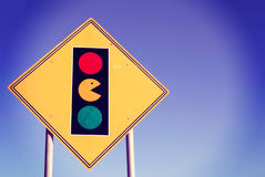 Game zone pacman traffic light sign arcade Stock Image