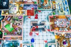 Gameboard do jogo do mistério de assassinato do indício de Cluedo imagens de stock