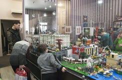 GameBrick。立方体乐高博物馆和陈列模型。圣彼得堡 免版税库存图片
