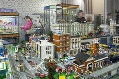 GameBrick。立方体乐高博物馆和陈列模型。圣彼得堡 免版税图库摄影