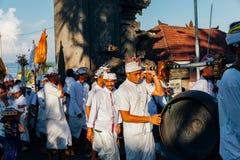 Gamelan传统音乐家,巴厘岛,印度尼西亚 免版税库存照片