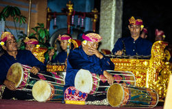 Gamelan ensemble plays during the Galungan festival Royalty Free Stock Images