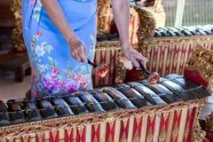 Gamelan kvinnahänder och traditionellt Balinesemusikinstrument man för bali town för solnedgång för form för härlig indonesia öku arkivfoto