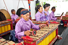 Gamelan orchestra in Ratu Boko palace ,Yogyakarta, Indonesia. Royalty Free Stock Images