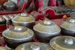 Gamelan, traditional balinese percussive music instruments in Bali and Java, Indonesia Royalty Free Stock Photo