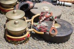 Gamelan traditionella musikinstrument av Java och Bali i Indonesien close upp royaltyfri foto
