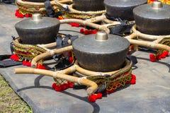 Gamelan traditionella musikinstrument av Java och Bali i Indonesien close upp arkivfoton