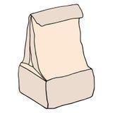 Gamelle d'école Sac de nourriture de papier de Brown d'isolement sur le blanc Main d Photos libres de droits