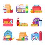 Gamelle d'enfant d'école Nourriture saine et nutritionnelle pour des enfants dans le panier-repas Sandwich et casse-croûte emball illustration libre de droits