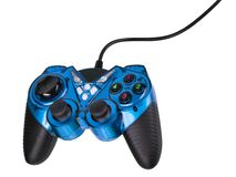 Gamepad. Video game controller with cord, isolated on white background Stock Images