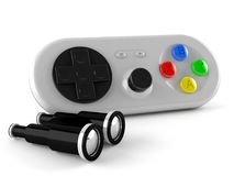 Gamepad with binocualrs. On white background Stock Photography