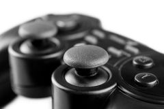 Gamepad. Black gamepad in the foreground Stock Image