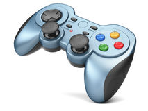Gamepad. Blue gamepad controller  on white background 3d Royalty Free Stock Photography
