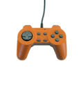 Gamepad with clipping path. An orange game pad isolated over white with plenty of copy space.  This file includes the clipping path Stock Images