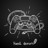 Gamepad disegnato a mano su fondo nero Illustrazione di vettore Fotografie Stock Libere da Diritti