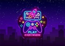 Gamepad en Smartphone-neontekenvector De spelen voor Smartphone Logotype, verzinnebeelden Modern Tendensontwerp, Vectormalplaatje vector illustratie