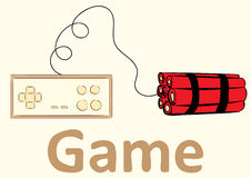 Gamepad et dynamite illustration stock