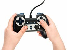 Gamepad in hands Stock Images