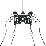 Gamepad in hands icon - game console controller. Gamepad in hands icon - game console joystick Stock Photography