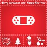Gamepad Icon Vector. And bonus symbol for New Year - Santa Claus, Christmas Tree, Firework, Balls on deer antlers Royalty Free Stock Photos