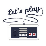 "Gamepad logo. Logo with retro gamepad and the words ""Lets play Royalty Free Stock Images"