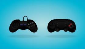 Gamepad negro Regulador del juego video Ilustración del vector Fotografía de archivo