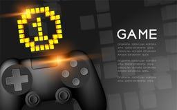 Gamepad o colore del nero del joypad con l'icona del pixel di numero uno della medaglia d'oro, illustrazione di progettazione di  illustrazione di stock