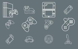 Gamepad och modig konsol - fastställd vektoröversikt för symboler för rengöringsduk eller mobil 01 vektor illustrationer