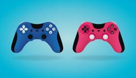 Gamepad realista Reguladores azules y rosados del videojuego Ilustración del vector Imágenes de archivo libres de regalías