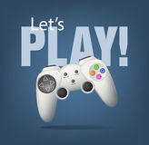 Gamepad. Realistic white gamepad on blue. EPS10 Royalty Free Stock Photos