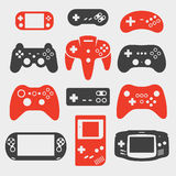 Gamepad silhouette icon set Royalty Free Stock Photo