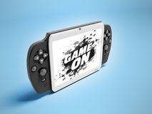 Gamepad tablet for mobile games gray with a black perspective 3d Royalty Free Stock Photo