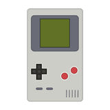 Gamepad vector illustration. Geek gaming retro gadgets from the. Nineties. Old game entertainment devices of the 90s. Electronics from the 20th century Stock Illustration