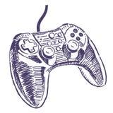 Gamepad vektorteckning stock illustrationer