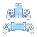 Gamepad voor uw telefoon De toebehoren voor mobiele apparaten staan u toe om videospelletjes te spelen Bedieningshendel voor verm Royalty-vrije Stock Afbeelding