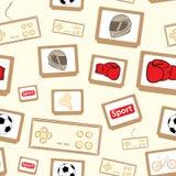 Gamepads y cartuchos inconsútiles ilustración del vector