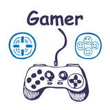 gamepadsymboler multiplicerar Stock Illustrationer