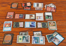 Gameplay of card game Magic The Gathering Royalty Free Stock Images