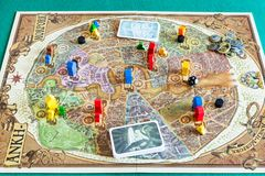 Gameplay of Discworld: Ankh-Morpork board game. MOSCOW, RUSSIA - APRIL 3, 2019: gameplay of Discworld: Ankh-Morpork board game. This game was designed by Martin stock photo