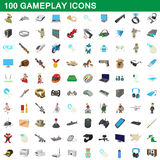 100 gameplay icons set, cartoon style Stock Photography