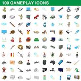 100 gameplay icons set, cartoon style. 100 gameplay icons set in cartoon style for any design illustration stock illustration