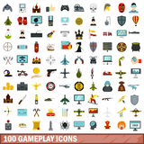 100 gameplay icons set, flat style. 100 gameplay icons set in flat style for any design vector illustration Stock Photo