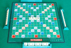 Gameplay in russian edition of Scrabble board game. MOSCOW, RUSSIA - APRIL 3, 2019: gameplay in russian edition of Scrabble board game on green table. Scrabble stock image
