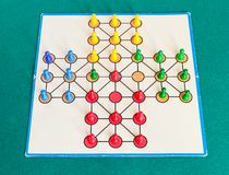 Gameplay of solitaire board game on green table. Gameplay of solitaire board game on green baize table. The first mention of the game can be identified in France royalty free stock photos