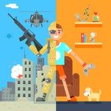 Gamer żołnierza rzeczywistości wirtualnej ikony immersyjnego Żywego Izbowego pola bitwy projekta charakteru wektoru Płaska ilustr ilustracji