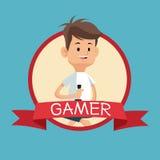 Gamer με μπλε backgroung εμβλημάτων κονσολών πηδαλίων το τηλεοπτικό Στοκ Εικόνες