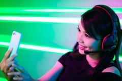 Gamer спорта кибер имеет selfie стоковое фото rf
